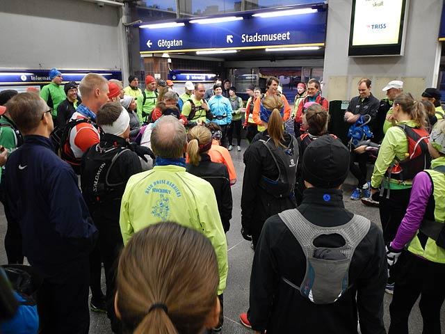 Starten för Årets sista långpass, Slussen