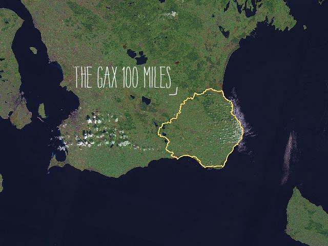 Karta: The Gax 100 miles