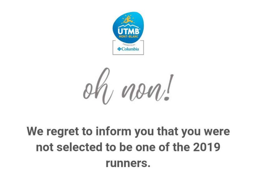 Oh no, inget UTMB 2019